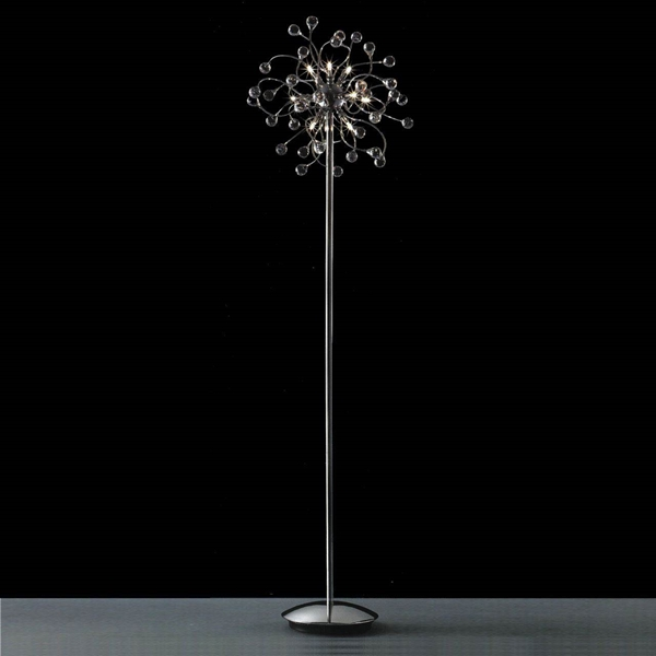 """Picture of 64"""" Sfera Modern Crystal Floor Lamp Polished Chrome 12 Lights"""