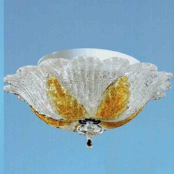 "Picture of 12"" Leaf Flush Mount Small Round Ceiling Melted Glass Chandelier 2 Lights"