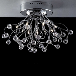 "Picture of 19"" Sfera Modern Crystal Flush Mount Round Chandelier Polished Chrome  / Brushed Nickel 10 Lights"