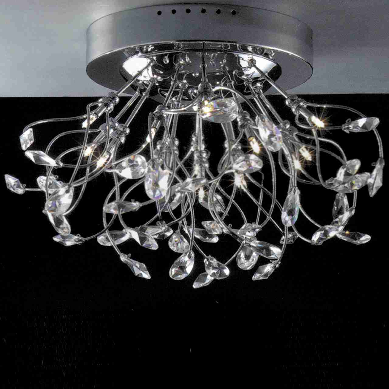 Brizzo lighting stores 24 tempesta modern crystal flush mount picture of 24 tempesta modern crystal flush mount round chandelier polished chrome brushed nickel arubaitofo Images