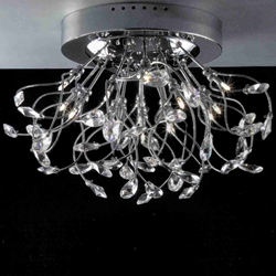 "Picture of 24"" Tempesta Modern Crystal Flush Mount Round Chandelier Polished Chrome  / Brushed Nickel 15 Lights"