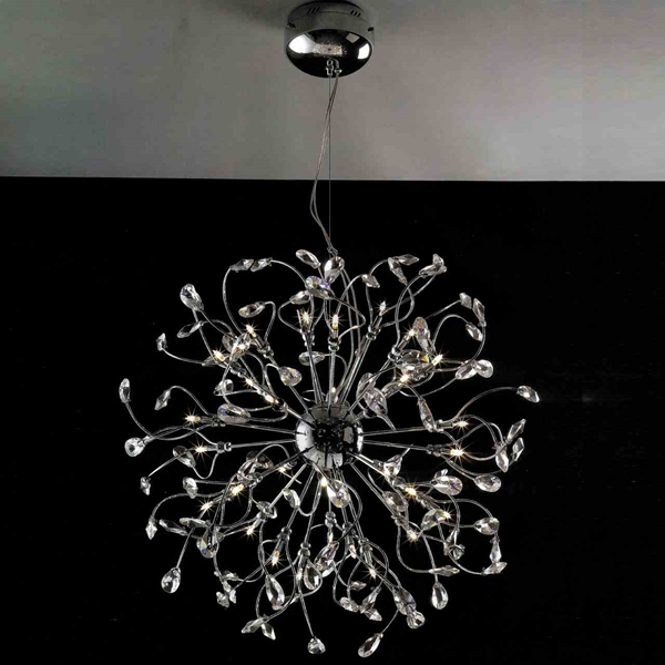 "Picture of 30"" Tempesta Modern Crystal Round Chandelier Polished Chrome 32 Lights"