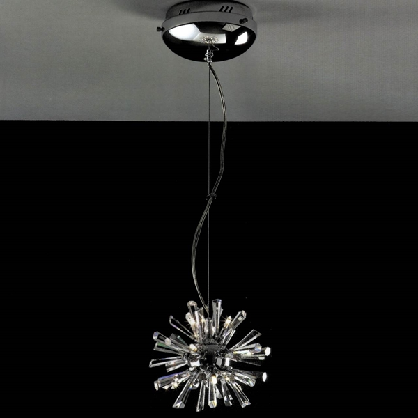 "Picture of 11"" Radiante Modern Crystal Round Pendant Polished Chrome 9 Lights"