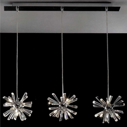 "Picture of 28"" Radiante Modern Crystal Triple Pendants Polished Chrome 12 Lights"