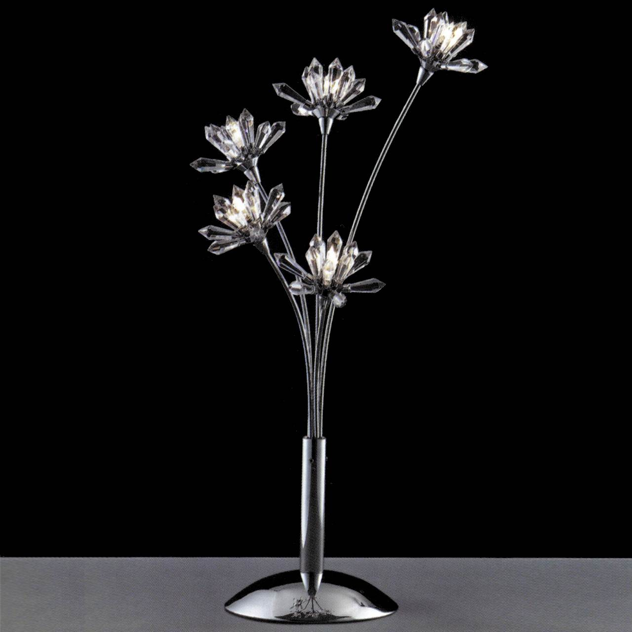 Picture of: Brizzo Lighting Stores 21 Petali Modern Crystal Table Lamp Polished Chrome 5 Lights
