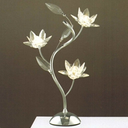 """Picture of 19"""" Fiore Modern Crystal Table Lamp Polished Chrome 3 Lights"""