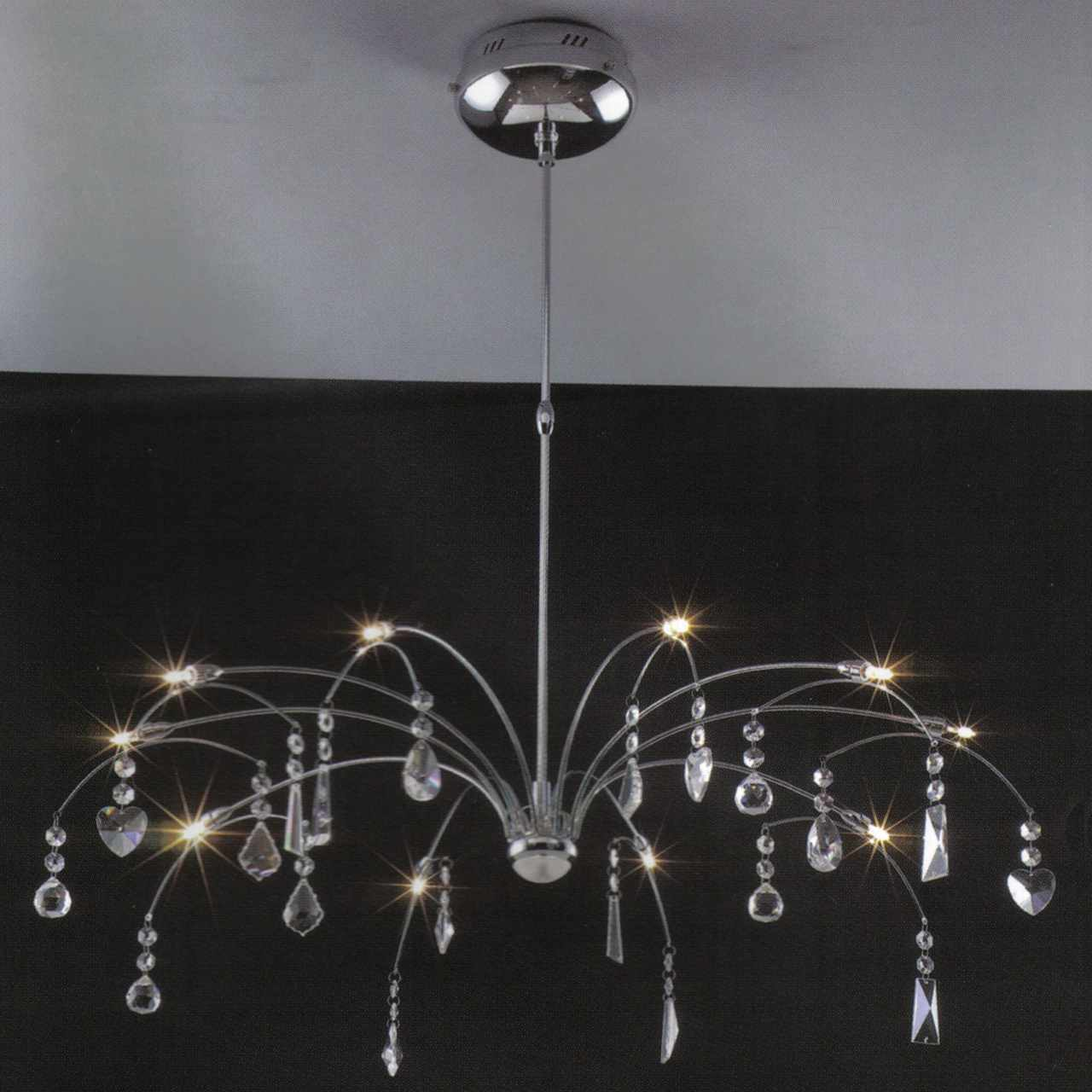 Brizzo lighting stores 31 aria modern crystal round chandelier polished chrome 12 lights - Lights and chandeliers ...