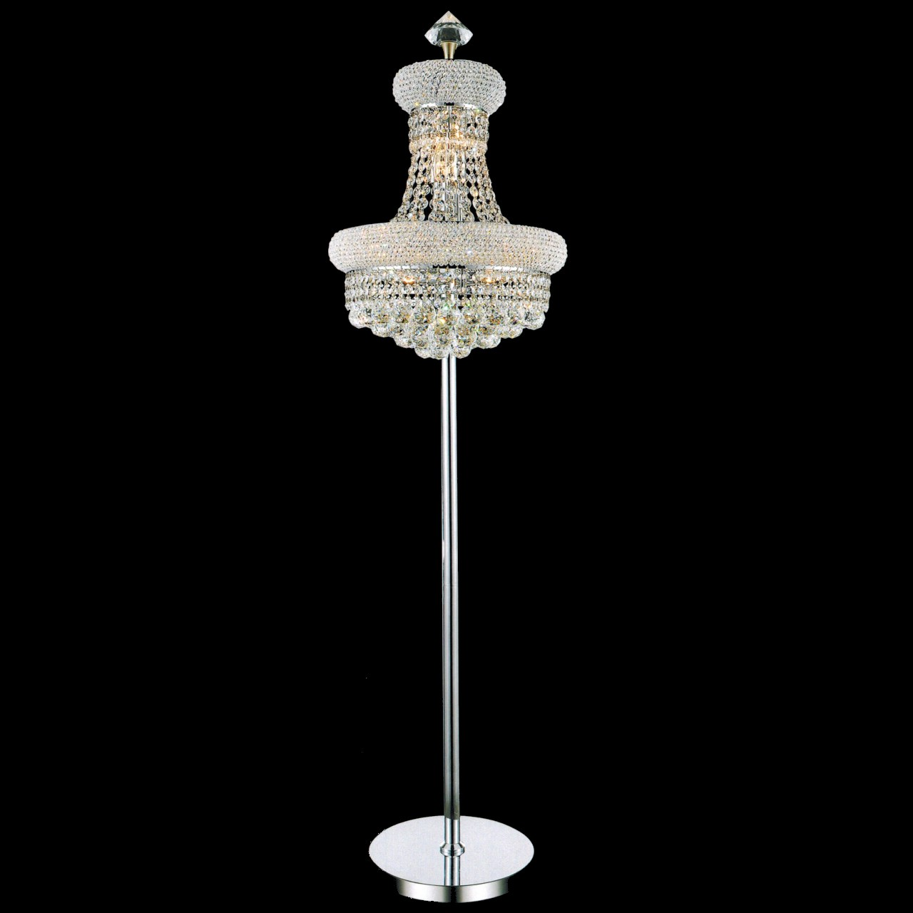 Brizzo Lighting Stores Empire Crystal Floor Lamp Chrome