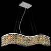 "Picture of 36"" Gesto Modern Rectangular Wave Chandelier Polished Chrome Clear Crystal 7 Lights"