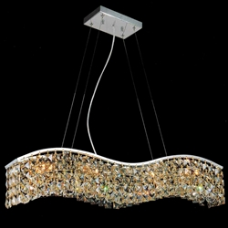 "36"" Gesto Modern Rectangular Wave Chandelier Polished Chrome Clear Crystal 7 Lights"