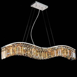 "36"" Gesto Modern Rectangular Wave Chandelier Polished Chrome Clear / Smoky / Champagne Crystal 7 Lights"