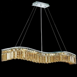 "44"" Gesto Modern Rectangular Wave Chandelier Polished Chrome Clear / Smoky / Champagne Crystal 7 Lights"