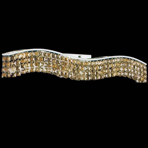 """Picture of 36"""" Gesto Modern Rectangular Wave Wall Sconce Vanity Light Polished Chrome Clear / Smoky / Champagne Crystal 8 Lights"""