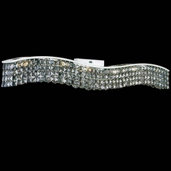 "44"" Gesto Modern Rectangular Wave Wall Sconce Vanity Light Polished Chrome Clear / Smoky / Champagne Crystal 12 Lights"
