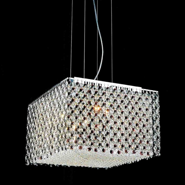 "Picture of 16"" Rainbow Modern Square Crystal Chandelier, Polished Chrome, 12 Lights, Clear / Black / Purple / Red or Blue Crystal"