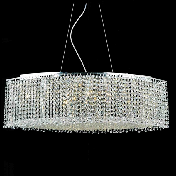 "Picture of 35"" Rainbow Modern Linear Crystal Chandelier, Polished Chrome, 15 Lights, Clear or Purple Crystal"