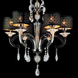 "Picture of 29"" Bello Nero Contemporary Crystal Round Chandelier Black Chrome with Shades 6 Lights"