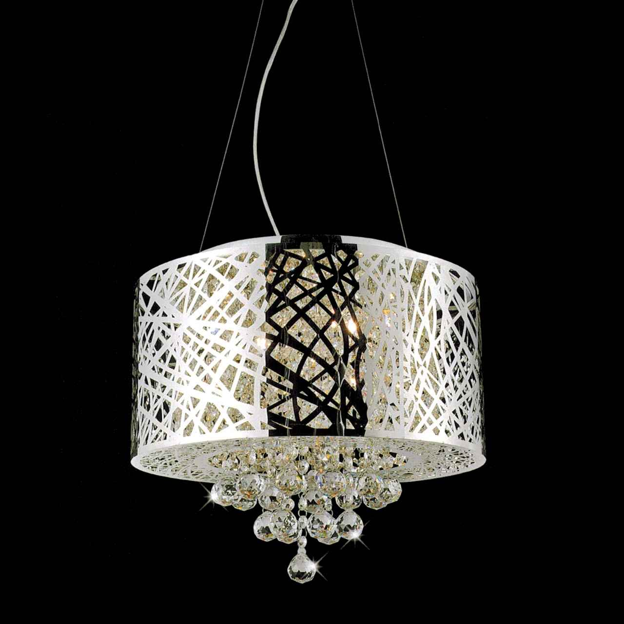 Brizzo lighting stores 16 web modern laser cut drum shade crystal picture of 16 web modern laser cut drum shade crystal round pendant chandelier stainless steel arubaitofo Images