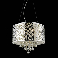 "Picture of 16"" Web Modern Laser Cut Drum Shade Crystal Round Pendant Chandelier Stainless Steel 5 Lights"
