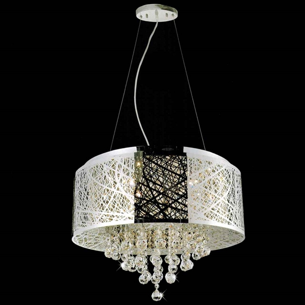 22 Web Modern Laser Cut Drum Shade Crystal Round Pendant Chandelier Stainless Steel 9 Lights
