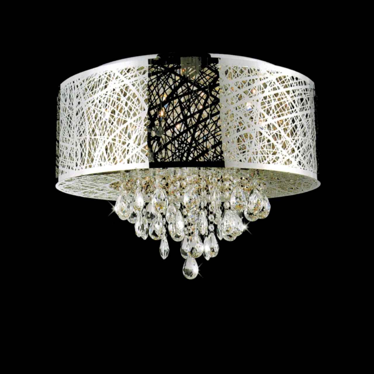 Brizzo lighting stores 22 web modern laser cut drum shade crystal picture of 22 web modern laser cut drum shade crystal round flush mount chandelier stainless aloadofball Images
