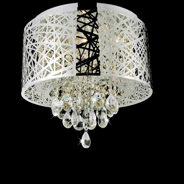 "Picture of 16"" Web Modern Laser Cut Drum Shade Crystal Round Flush Mount Chandelier Stainless Steel 6 Lights"