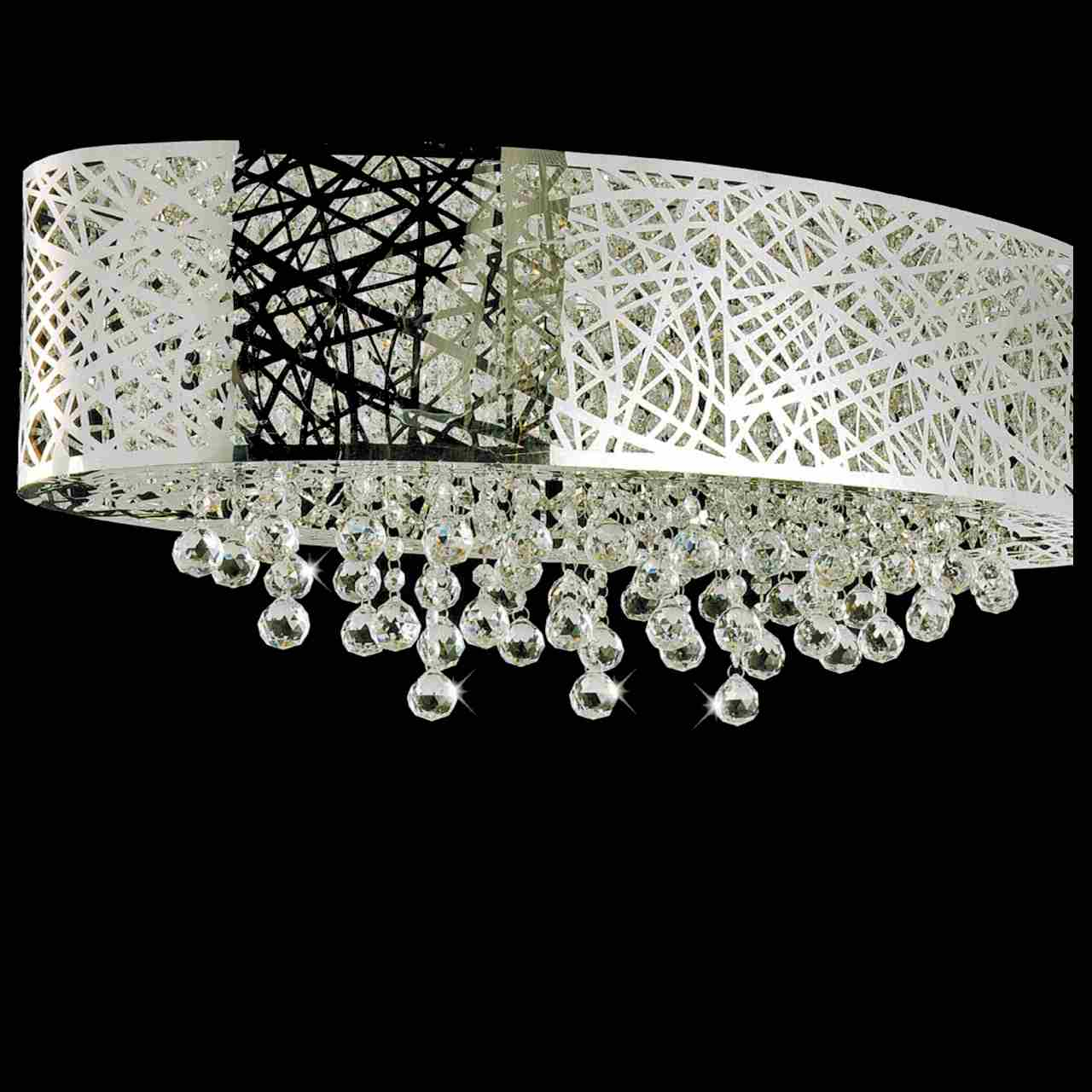 Brizzo lighting stores 32 web modern laser cut shade crystal oval picture of 32 web modern laser cut shade crystal oval flush mount chandelier stainless steel arubaitofo Choice Image