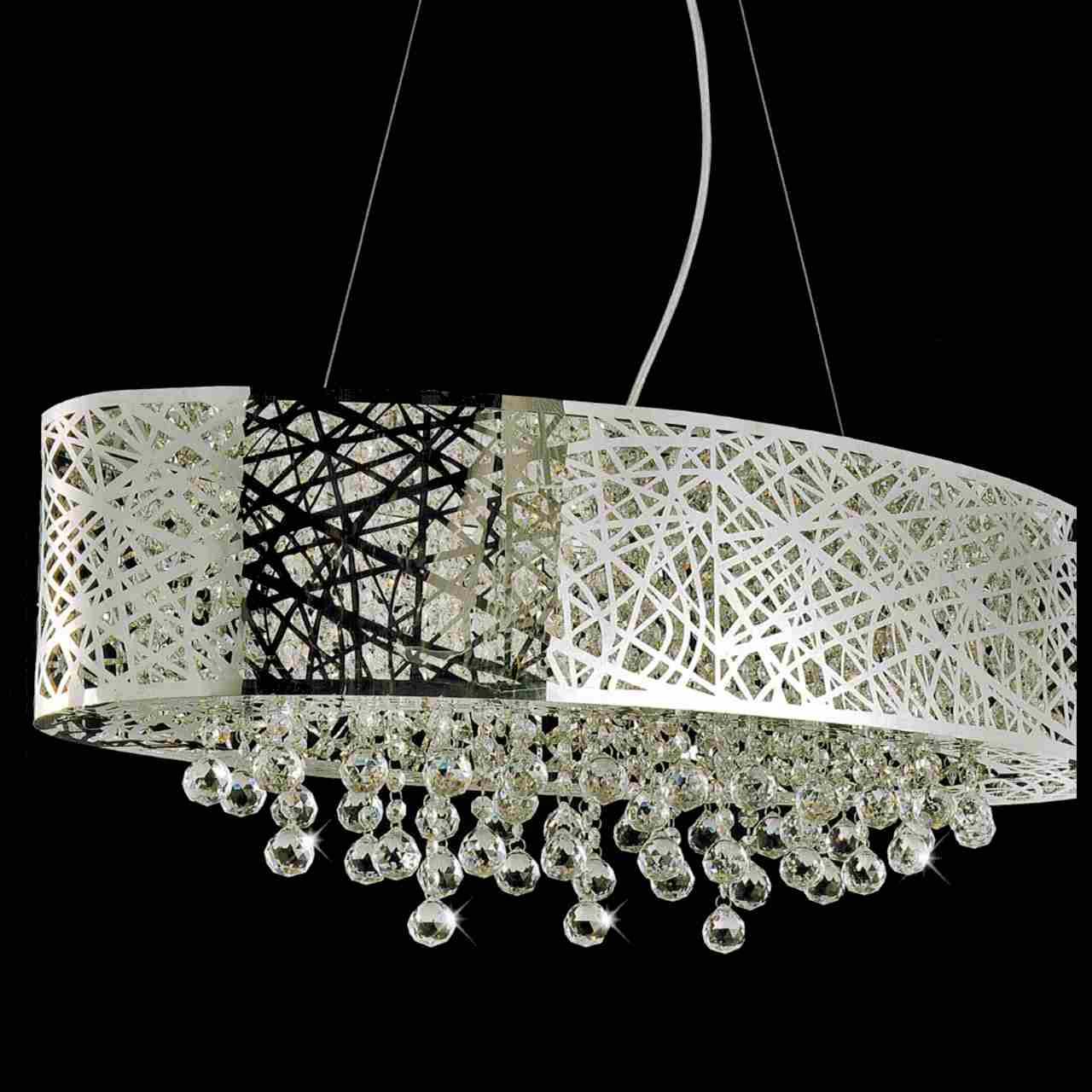 Brizzo lighting stores 32 web modern laser cut drum shade crystal picture of 32 web modern laser cut drum shade crystal oval pendant chandelier stainless steel mozeypictures Gallery