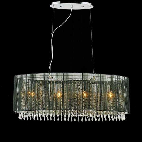 Brizzo Lighting Stores 35 Ovale Modern String Drum Shade Crystal