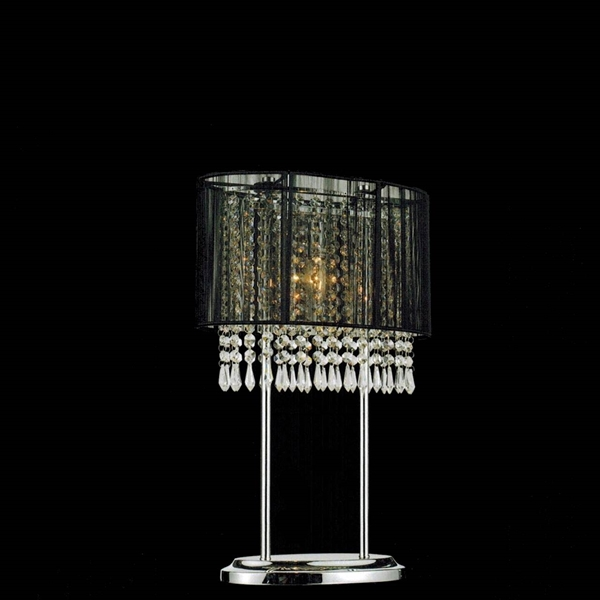 20 Ovale Contemporary String Drum Shade Crystal Table Lamp Polished Chrome Black White Silver Shade 2 Lights