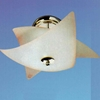 "Picture of 16"" Star Semi-Flush Mount Lamp Polished Chrome Frosted Translucent Pink Glass 3 Lights"