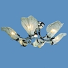 "Picture of 30"" Leaf Flush Mount Small Round Ceiling Melted Glass Chandelier Gold / Chrome 6+1 Lights"