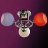 "Picture of 19"" Vibrante Modern Round Kids Semi-Flush Mount Chrome Finish White / Orange / Blue Glass 3 Lights"