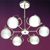 "Picture of 28"" Vibrante Modern Round Kids Chandelier Brushed Nickel White / Orange / Pink / Blue Glass 6 Lights"