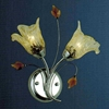 "Picture of 11"" Flower Transitional Clear / White Fused Glass Amber Crystal Wall Sconce Chrome / Gold Finish 2 Lights"