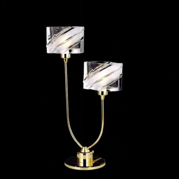 """Picture of 12"""" Blocchi Modern Table Lamp Chrome / Gold Finish Clear / White Glass 2 Lights"""