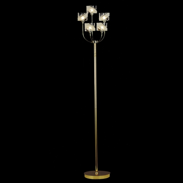 "Picture of 15"" Blocchi Modern Floor Lamp Chrome / Gold Finish Clear / White Glass 5 Lights"