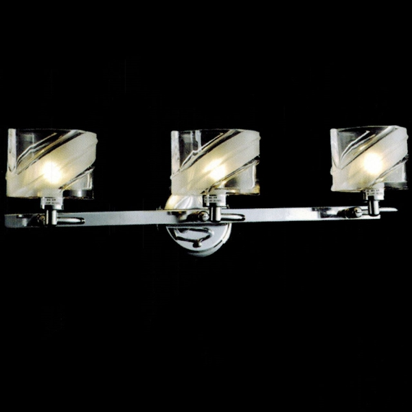 "Picture of 22"" Blocchi Modern Rectangular Vanity Light Chrome / Gold Finish Clear / White / Color Glass 3 Lights"