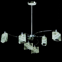 """Picture of 29"""" Blocchi Modern Round Chandelier Chrome / Gold Finish Clear / White / Color Glass 6 Lights"""