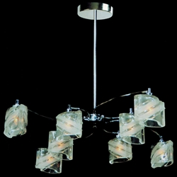 "Picture of 29"" Blocchi Modern Round Chandelier Chrome / Gold Finish Clear / White / Color Glass 8 Lights"