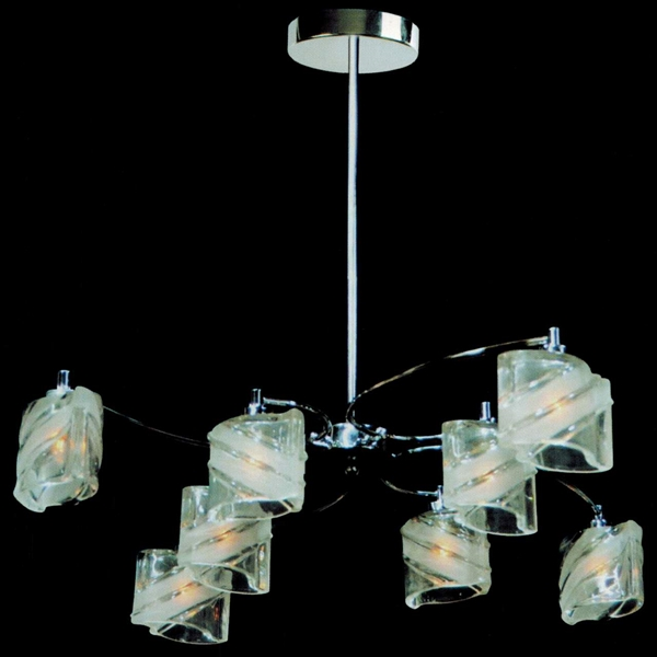 """Picture of 29"""" Blocchi Modern Round Chandelier Chrome / Gold Finish Clear / White / Color Glass 8 Lights"""