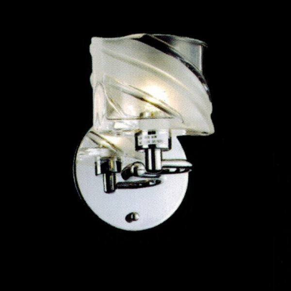 "Picture of 7"" Blocchi Modern Rectangular Wall Sconce Vanity Light Chrome / Gold Finish Clear / White Glass 1 Light"