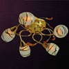 """Picture of 21"""" Due Linee Transitional Round Frosted Glass Flush Mount Ceiling Lamp with Clear / Amber Crystals Chrome / Gold Finish 5 Lights"""