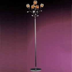 "Picture of 22"" Due Linee Transitional Round Frosted Glass Floor Lamp with Clear / Amber Crystals Chrome / Gold Finish 6 Lights"