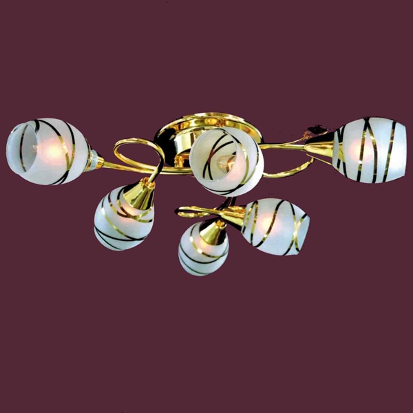 "Picture of 24"" Due Linee Transitional Round Frosted Glass Flush Mount Ceiling Lamp with Clear / Amber Crystals Chrome / Gold Finish 6 Lights"