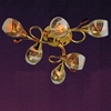 "Picture of 24"" Quattro Linee Transitional Round Frosted Glass Flush Mount Ceiling Lamp with Clear / Amber Crystals Chrome / Gold Finish 6 Lights"