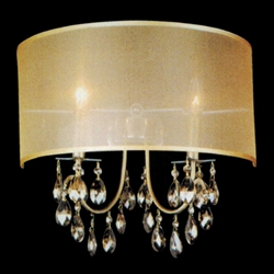 """Picture of 16"""" Organza Contemporary Crystal Wall Sconce Antique Brass Finish Champagne Shade and Crystals 2 Lights"""