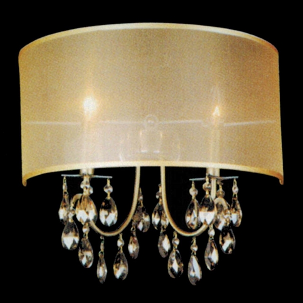 Brizzo lighting stores 16 organza contemporary crystal wall sconce 16 organza contemporary crystal wall sconce antique brass finish champagne shade and crystals 2 lights aloadofball Image collections