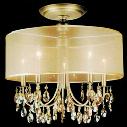 """Picture of 22"""" Organza Contemporary Round Crystal Flush Mount Ceiling Lamp Antique Brass Finish Champagne Shade and Crystals 5 Lights"""