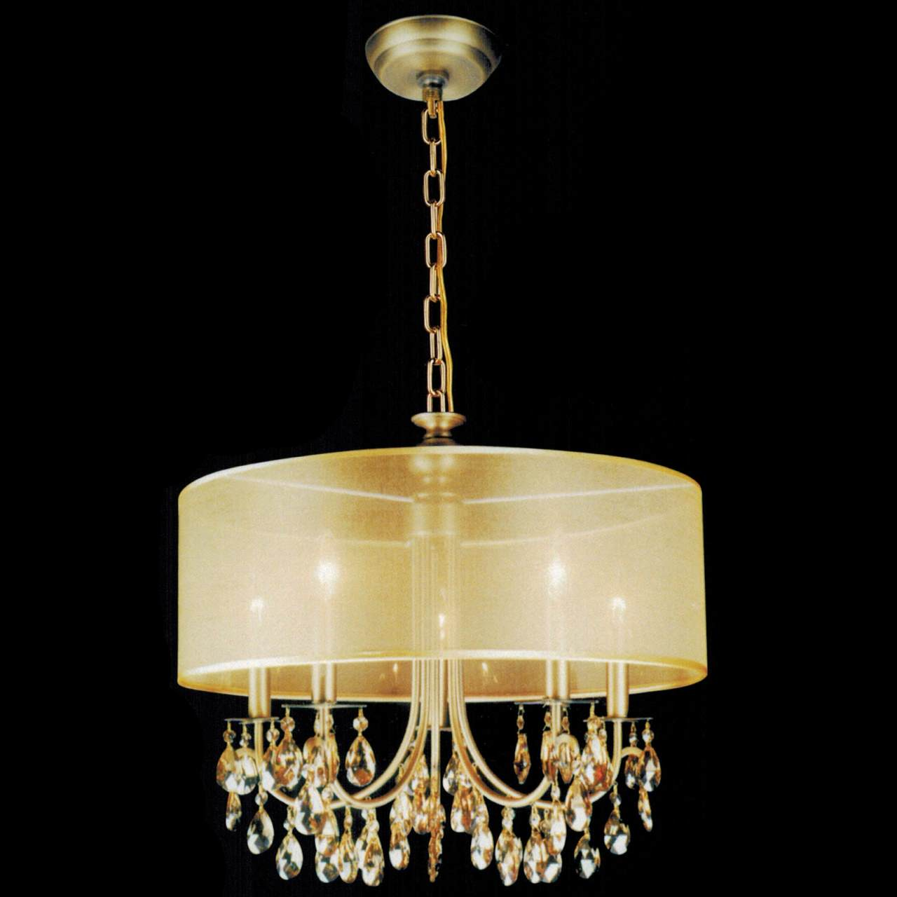 22 Organza Contemporary Round Crystal Pendant Chandelier Antique Brass Finish Champagne Shade And Crystals 5 Lights
